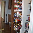 Container Store pantry, new pass-through to the dining room and new liquor cabinet.
