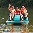Gregg, Josh and Poppy Paddleboating on Shit Creek