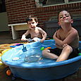 Relaxing in our Luxurious Backyard Pool