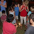 Lighting sparklers for the neighborhood kids