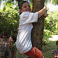 Josh pretending to climb a tree