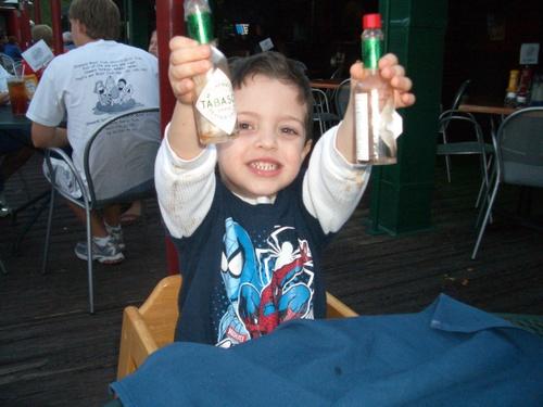 Josh polishes off two bottles of Tabasco