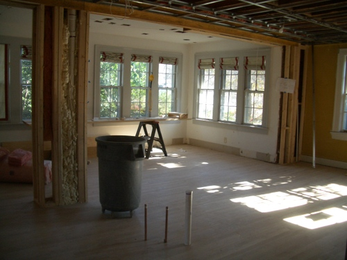 Electrical and plumbing is largely complete