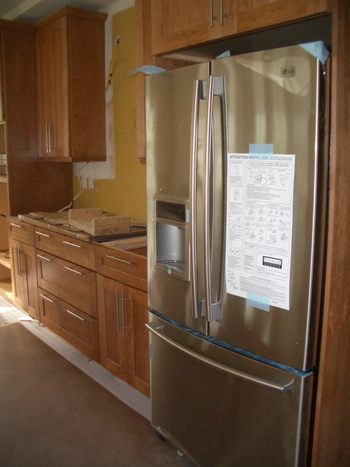 Our New Fridge!  And check out those drawer pulls!
