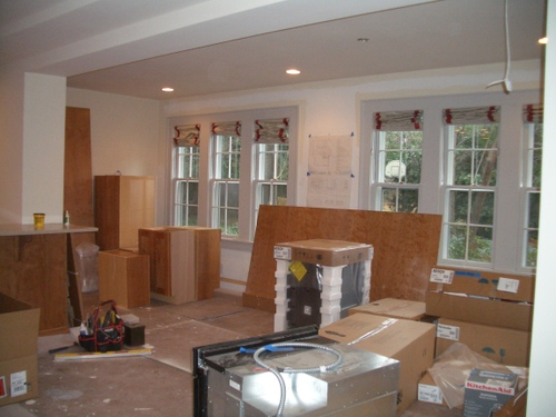 The cabinetry for the entertainment unit has arrived!